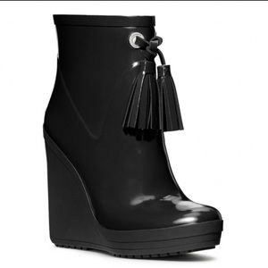 COACH Bina Wedge Rubber Rain Boots With Tassels
